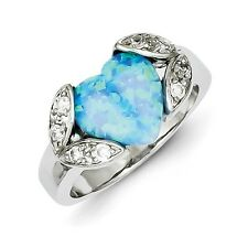Sterling Silver Imitation Blue Opal & Clear CZ Heart Shaped Ring Size 6 to 8