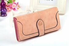 Womens Trendy Wallet Checkbook Clutch Trifold ID Card Holder Purse PU Leather