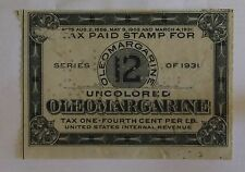 US Stamp Revenue Oleomargarine Uncolored 12 LBS Series 1931 Perfin Used