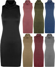 New Womens Cowl Polo Neck Sleeveless Knitted Short Plain Top Ladies Dress
