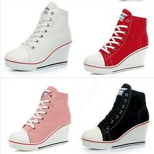 Women Fashion Canvas Platform Wedge High Top Heel Lace Up Zip Sneakers Shoes