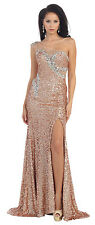 Long One Shoulder Style Sequins Low Back Formal Prom Dress with High Front Slit