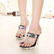Womens Open Toe Thong Sandals Boho Rhinestone Slingbacks Shoes Stilettos US 4-10