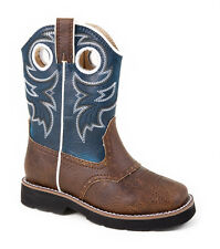 Roper Baby Boys Infant Square Toe Riderlite 2 Brown Blue Faux Leather Cowboy