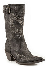 Roper Womens Cowboy Boots Black Faux Leather Suede 13in Snip Toe Crystals