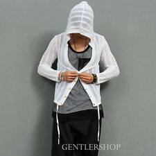 Men's Fashion Slim Mesh Button Up Knit Hoodie, GENTLERSHOP