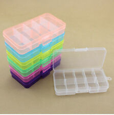 Plastic 10 Slots Compartment Adjustable Jewelry Storage Box Case Container