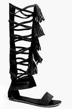 Boohoo Womens Boutique Amy Knee High Suede Fringe Gladiator