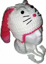 Bunny Rabbit Crochet Handmade Hat with Earflaps.All Sizes.New.Made to Order.