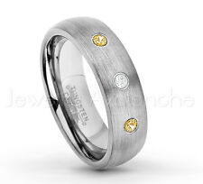 0.21ctw Diamond & Citrine 3-Stone Dome Tungsten Ring, November Birthstone #060