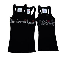 "WEDDING BRIDE TANK RHINESTONE ""BRIDESMAID W/FLOWER"" TANK TOP SHIRT PERFECT GIFT"