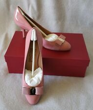 Salvatore Ferragamo Vara Varina Bow Carla Pump 8.5B Blush Pink Patent Leather