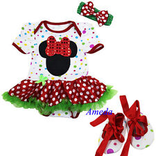 Baby Minnie Mouse Xmas Red Polka Dots Pettiskirt Bodysuit Romper Party Dress Bow