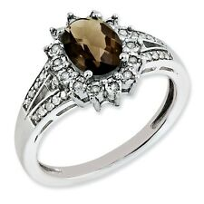 Sterling Silver Oval Smoky Quartz & .15 CT Diamond Ring 3.15 gr Size 5 to 10