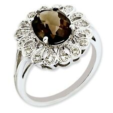 Sterling Silver Round Smoky Quartz & .15 CT Diamond Ring 3.36 gr Size 5 to 10