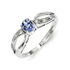 Sterling Silver Oval Cut Tanzanite & .01 CT Diamond Ring 1.53 gr Size 6 to 9