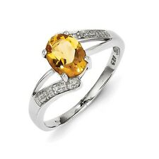 Sterling Silver Oval Shaped Citrine & .01 CT Diamond Ring 1.75 gr Size 6 to 8