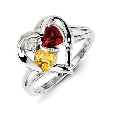 Sterling Silver Citrine Garnet & .01 CT Diamond Hearts Ring 2.60 gr Size 6 to 9