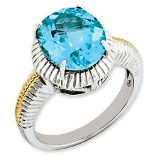 Sterling Silver Gold-Plated Round Cut Blue Topaz Ring 3.74 gr Size 5 to 10