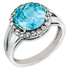Sterling Silver Round Blue Topaz & .12 CT Diamond Ring 2.70 gr Size 5 to 10