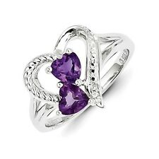 Sterling Silver Twin Heart Amethyst & .01 CT Diamond Ring 2.53 gr Size 6 to 9