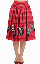 BANNED 50s Classic Retro Red Skirt Empower Jive Rockabilly 8 10 12 14 16