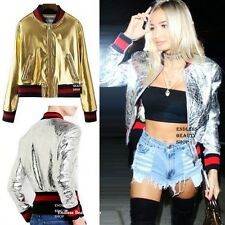Rock Metallic Motorcycle Bomber Jacket Womens Leather Coat Slim Baseball 2 color