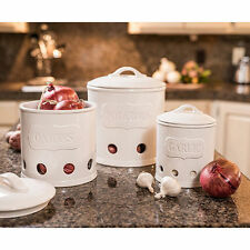 Ceramic 3 Piece Kitchen Canister Set ~  White ~ Brand New