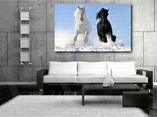 Galloping White and Black Horses Horse Art Canvas Poster Print Home Wall Decor