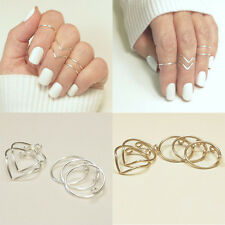 5Pcs/Set Women Gold Silver Above Knuckle Finger Ring Band Midi Rings CHI
