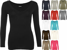 New Ladies V Neck Short Sleeve Top Plus Size Womens Stretch Plain T-shirt