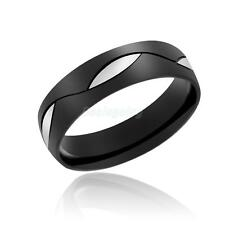 Glazed Stainless Steel Couple Lovers Pinky Ring Band Gift Men Black US Size6-13#