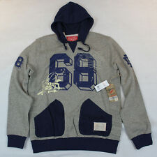 Hawke & Dumar The Seabees Pullover Hooded Sweatshirt in Estate Blue and Grey XL