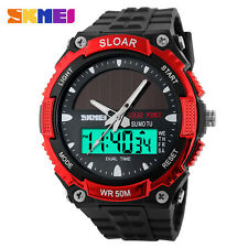 SKMEI Solar Energy Watch Outdoor Alarm Waterproof Men's Sport Wristwatches
