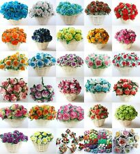 50 ROSE MULBERRY PAPER FLOWER CRAFT ARTIFICIAL EMBELLISHMENT CARD WIRE 1.5 CM.