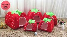 Dog Cat Soft Cushion Bed Puppy Pad Warm Pet Kennel Strawberry Doggy House