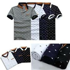 Mens Stand Collar Casual Slim Fit Short Sleeve Polo Shirt T-shirts Tee Shirt New