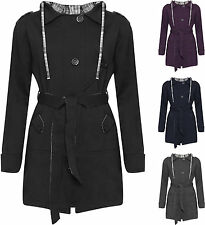 New Womens Plus Size Plain Checked Hooded Belted Button Ladies Coat Jacket