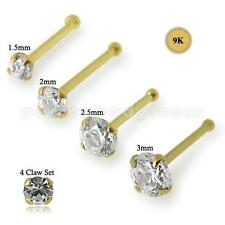 9k Solid Yellow Gold Nose Bone Stud Screw Ring with Claw Set CZ
