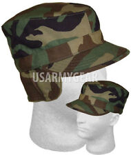 US ARMY Military  Insulated Woodland Camouflage Patrol Cap w/ Ear flap Hat Head