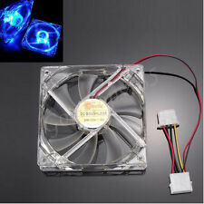 High CFM Electric Quad 4-LED Light Neon Clear 120mm PC Computer Case Cooling Fan
