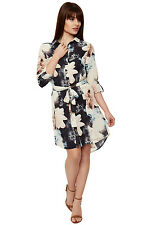 Womens Hi Lo Floral Print Long Sleeve Belted Button Collar Shirt Ladies Dress