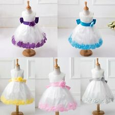 Girl Kids White Wedding Pageant Bridesmaid Children Petals Party Flower Dress
