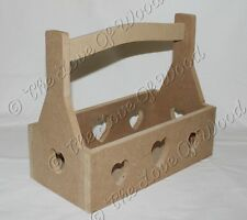 Crate with carry handle with cut out hearts MDF