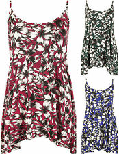 New Womens Plus Size Floral Print Camisole Strappy Swing Vest Ladies Top