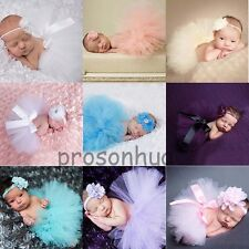 Newborn Baby Girl Cute Flower Headband+Tutu Skirt Photography Photo Prop Costume