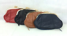 QUALITY LADIES GIRLS SOFT LEATHER LARGE TRIPLE FRAME TOP CLIP COIN PURSE A7741