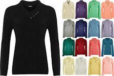 New Plus Size Womens Button V Neck Long Sleeve Top Ladies Knitted Jumper