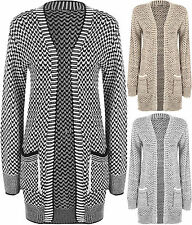 New Plus Size Womens Knitted Long Sleeve Open Pocket Top Ladies Cardigan