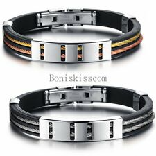 Hollow Polished Silicone Stainless Steel Men's Bracelet Cuff Bangle Wristband